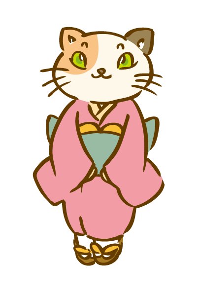 着物を着た三毛猫1