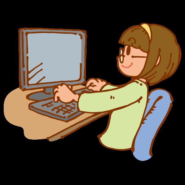 パソコンを使う女の子1