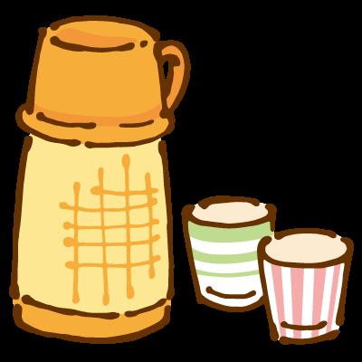 ポット入りのお茶と紙コップ