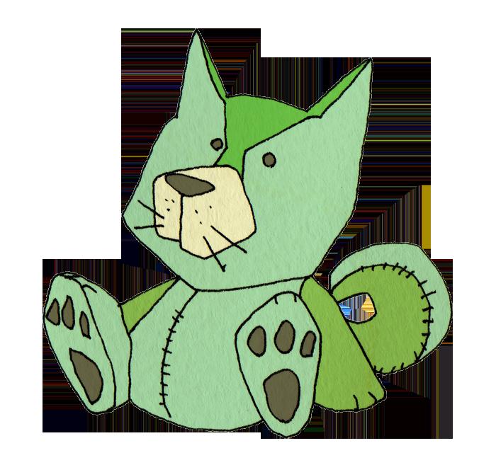 緑の犬のぬいぐるみ