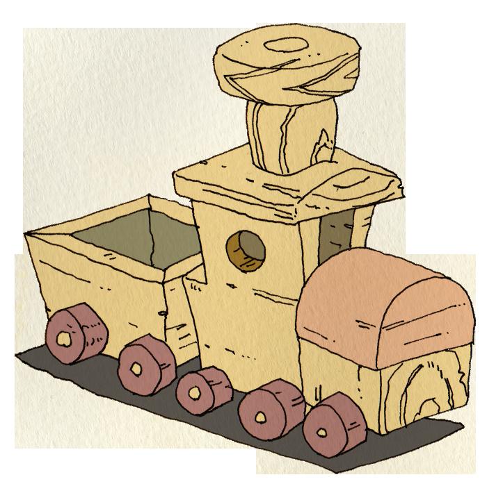 木製のおもちゃの機関車