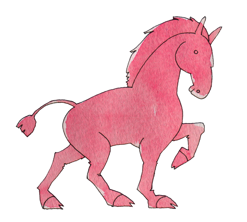 濃いピンクの馬