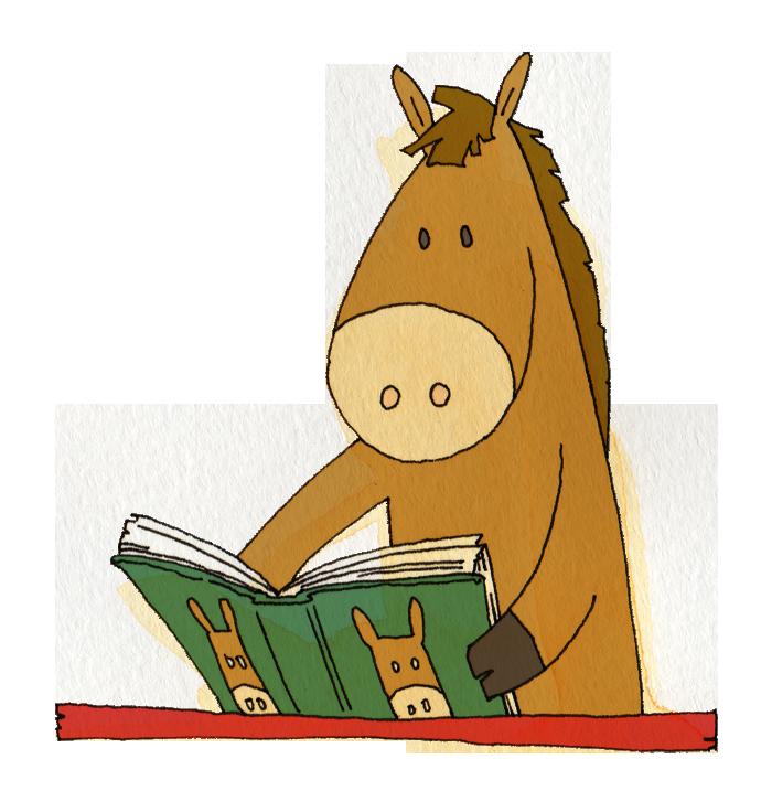 本を読む馬