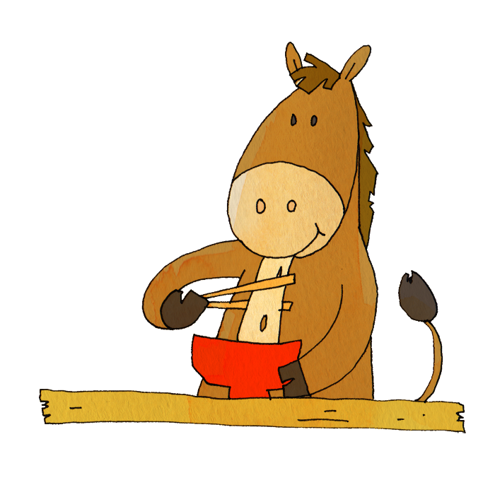 餅を食べる馬