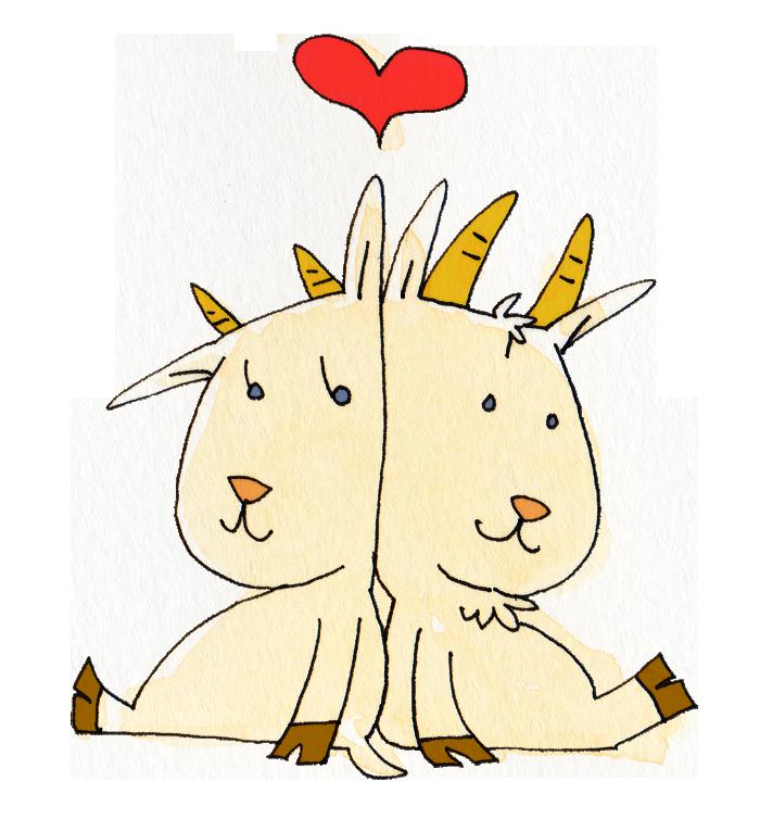 ヤギのカップル