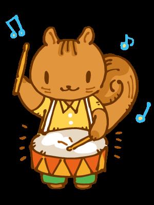 太鼓をたたくリスのイラスト