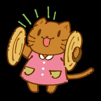 シンバルをたたく猫のイラスト