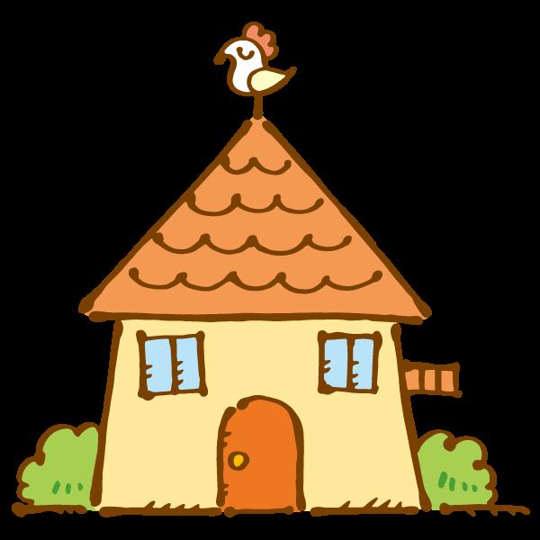 風見鶏のある家のイラスト かわいいフリー素材が無料のイラストレイン