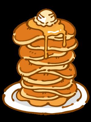 たくさん重ねたパンケーキのイラスト