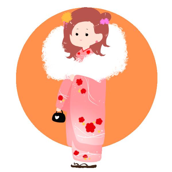 女の子着物のイラスト