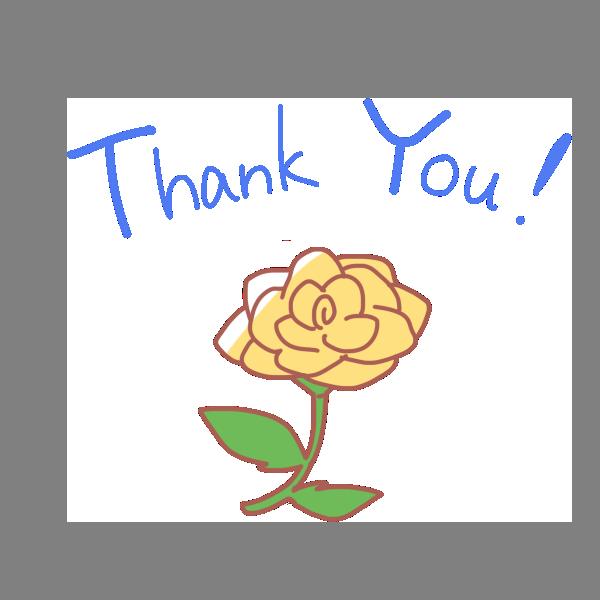 「 Thank You 」文字と黄色いバラのイラスト