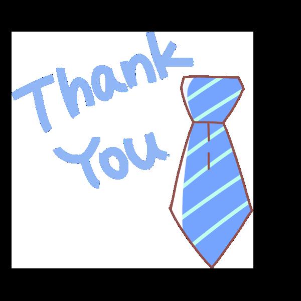 「 Thank You 」文字とネクタイのイラスト