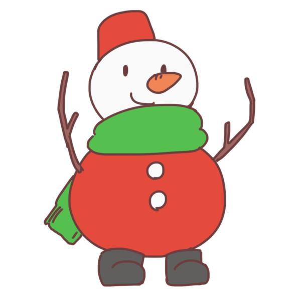クリスマス仕様のゆきだるまのイラスト