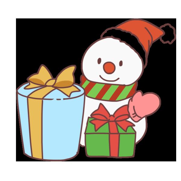 プレゼントと雪だるまのイラスト