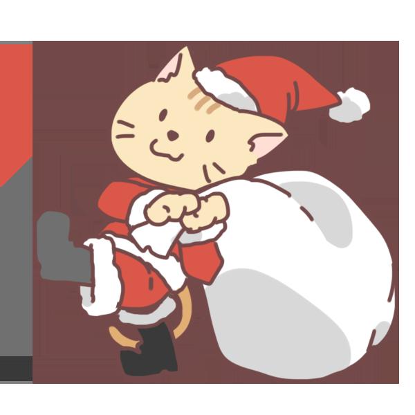 猫のサンタのイラスト