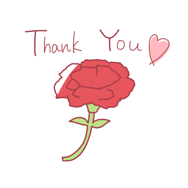 「 Thank You 」文字とカーネーションのイラスト