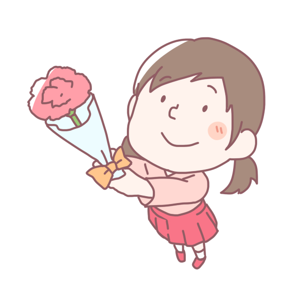 カーネーションを渡す女の子のイラスト