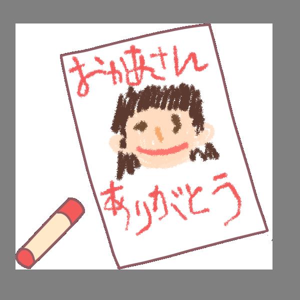 お母さんの似顔絵のイラスト