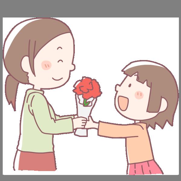 お母さんにプレゼントする女の子のイラスト