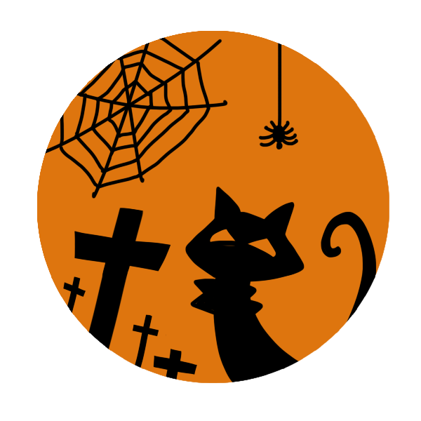 猫と蜘蛛とお墓のシルエットのイラスト