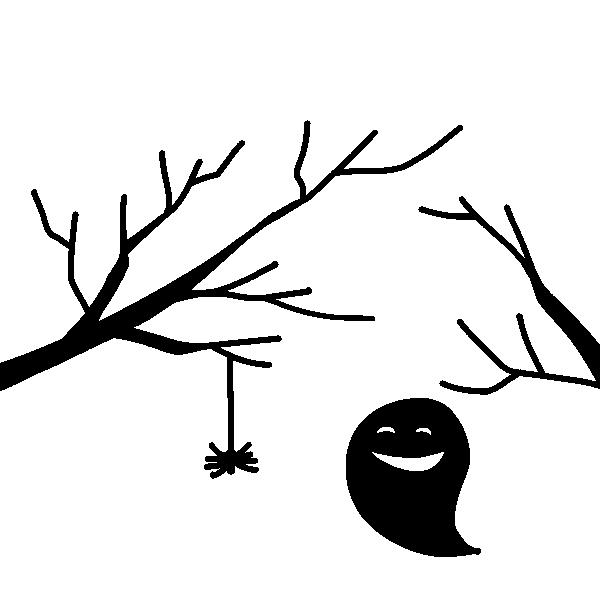 枝とお化けのシルエットのイラスト