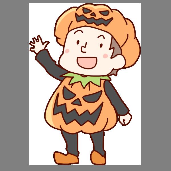 かぼちゃの服を来た男の子のイラスト