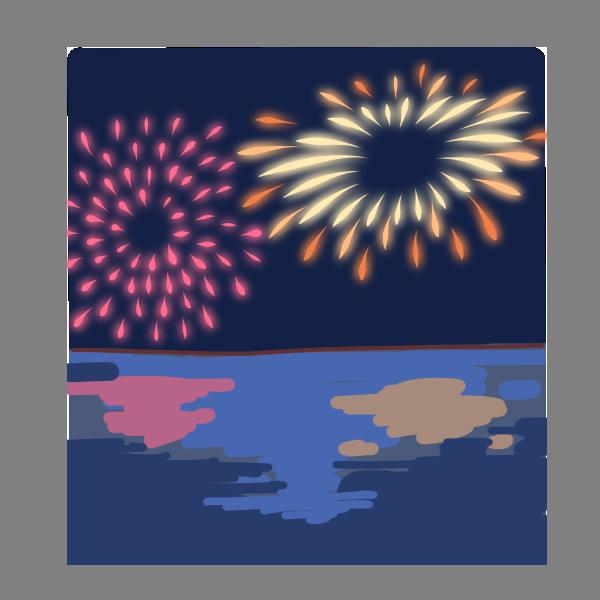 海面にうつる花火のイラスト