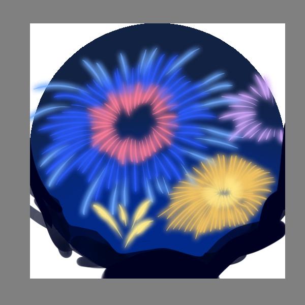 夜空の花火のイラスト