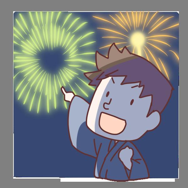 花火を指差す男の子のイラスト