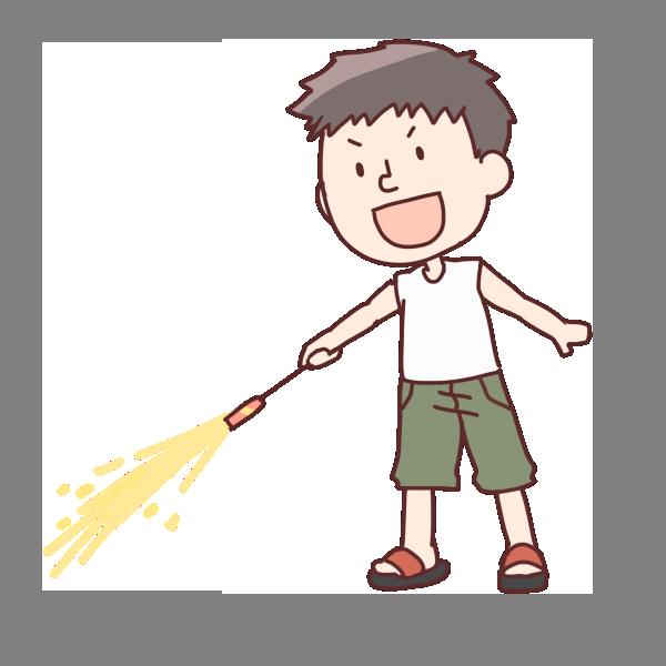 花火をする男の子のイラスト