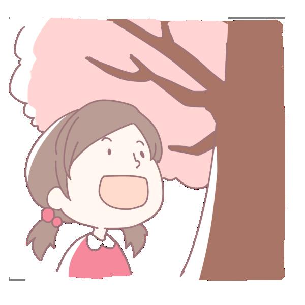 桜を見上げる女の子のイラスト
