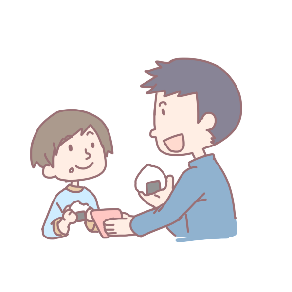 おにぎりを食べる親子のイラスト
