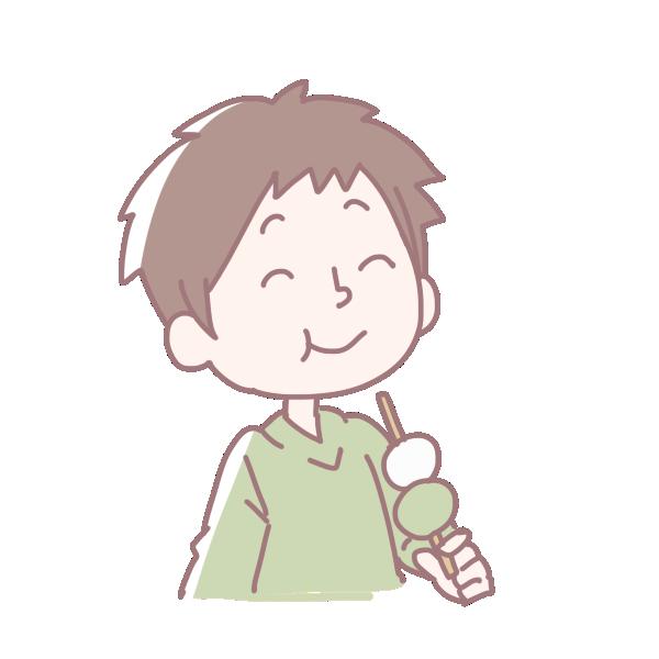 お団子を食べる男の子のイラスト