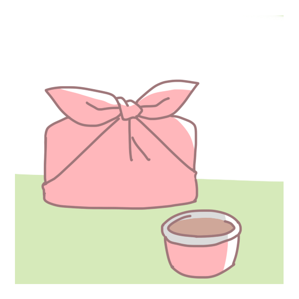 お弁当とお茶のイラスト