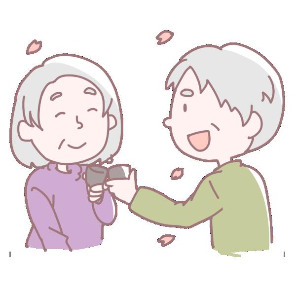 乾杯をする老夫婦のイラスト