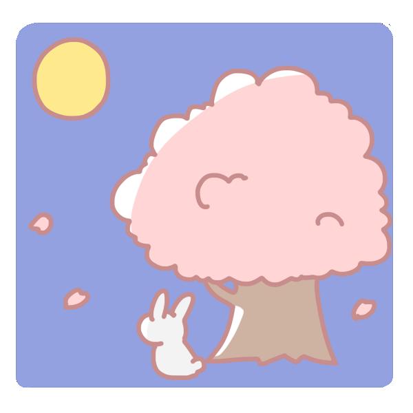 桜とウサギと満月のイラスト