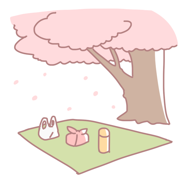 桜の木の下の場所のイラスト