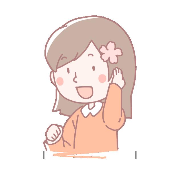 桜を髪に差した女の子のイラスト