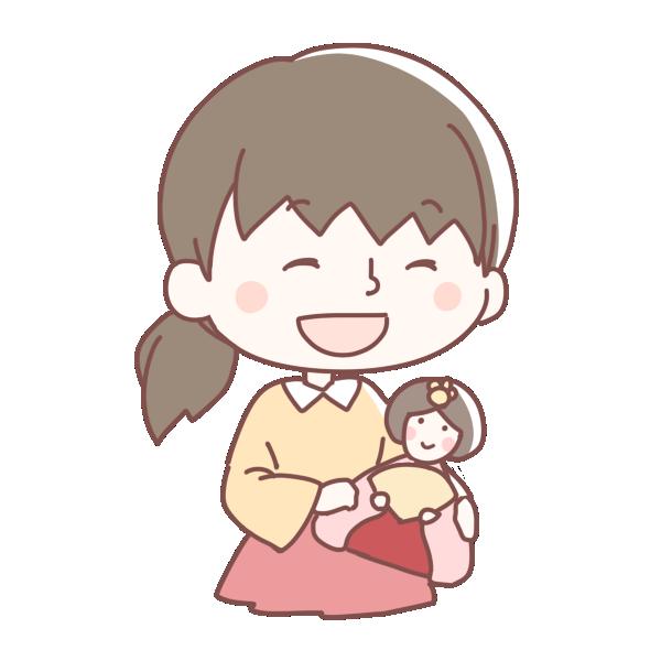 ひな人形をもつ女の子のイラスト