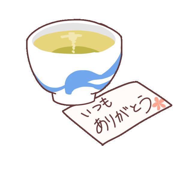 お茶と手紙のイラスト