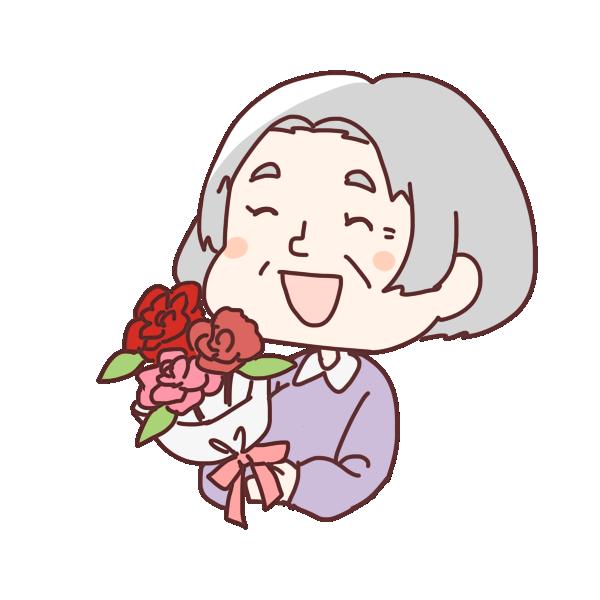 花束のプレゼントのイラスト