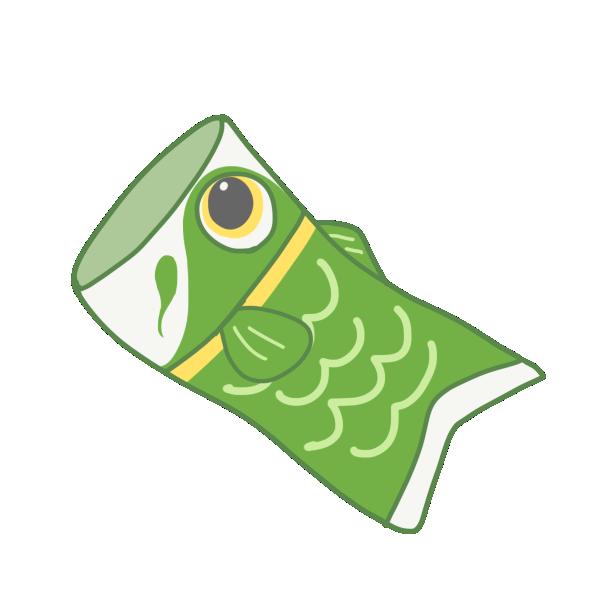 緑の鯉のぼりのイラスト