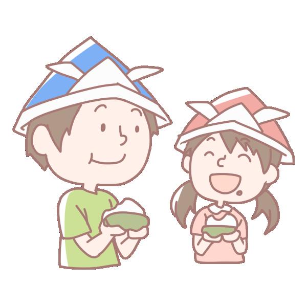 柏餅を食べる男の子と女の子のイラスト