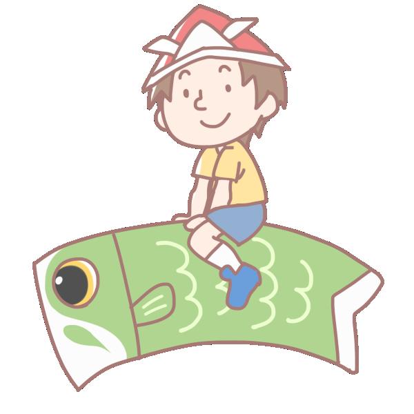 鯉に乗る男の子のイラスト