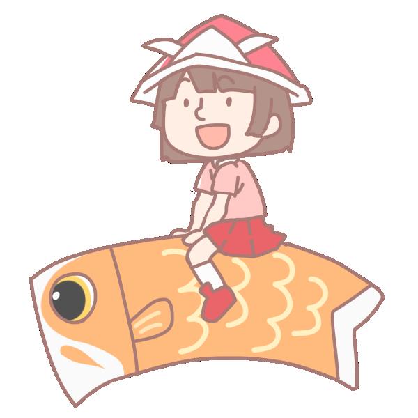 鯉に乗る女の子のイラスト
