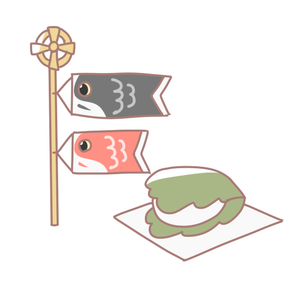 鯉のぼりと柏餅のイラスト