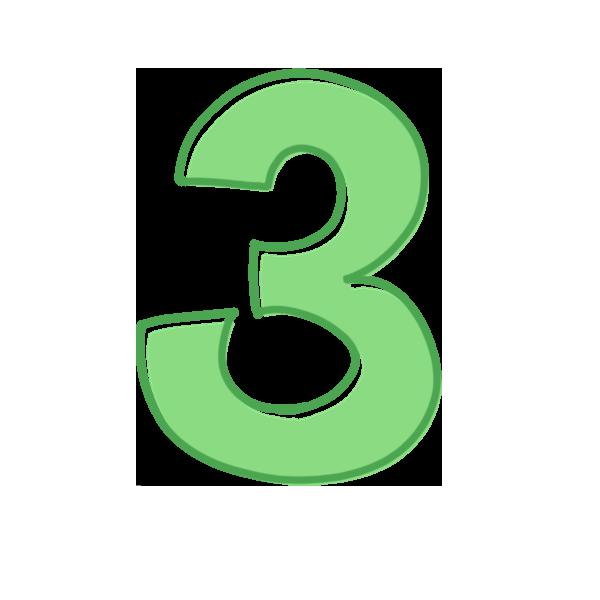 3の数字のイラスト