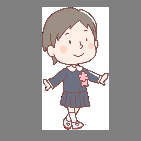 入学式で歩く女の子のイラスト