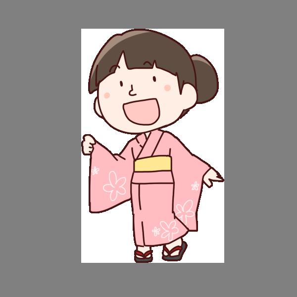 浴衣を着た女の子のイラスト