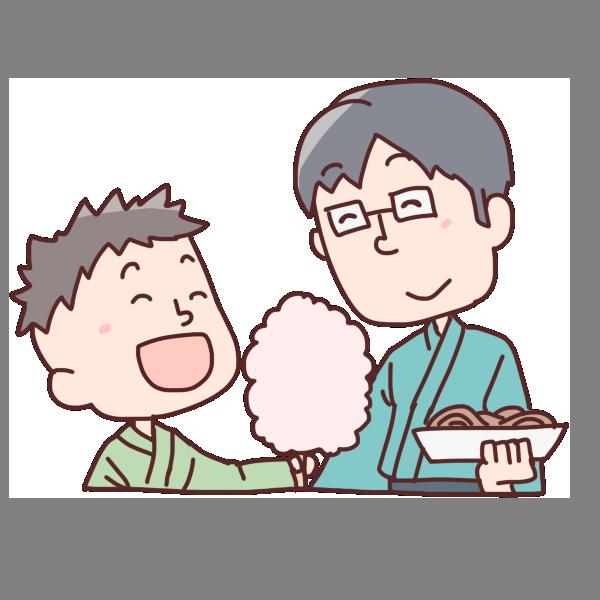 親子で食べようのイラスト